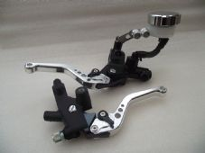 Front master cylinder and clutch perch with CNC levers set short silver alloy